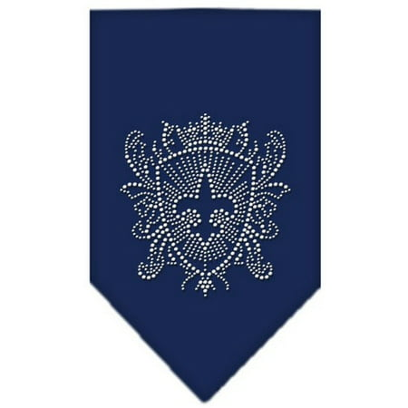 Fleur De Lis Shield Rhinestone Bandana Navy Blue large