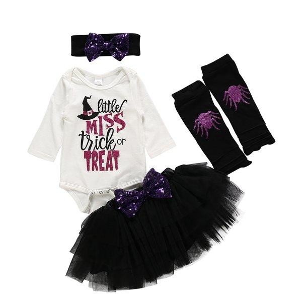 Girls Halloween Clothes Cute Print Long Sleeve Romper Tulle Tutu Skirt Leg Warmer Bow Headband Outfits Set Walmart Com Walmart Com