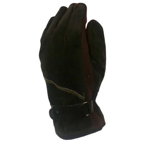 Dark Chocolate Brown Men's Suede Warm Winter Gloves Size Medium/Large