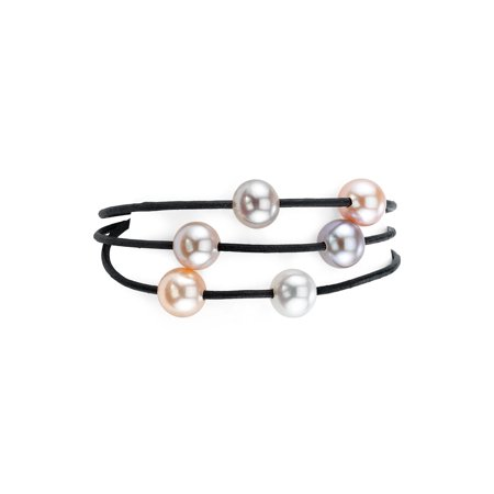 Triple Strand Leather - 8mm Freshwater Multicolor Cultured Pearl Triple Strand Leather Bracelet