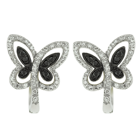 14K White Gold 0.27ct Intricate Butterfly Black Diamond Huggie Post Earrings