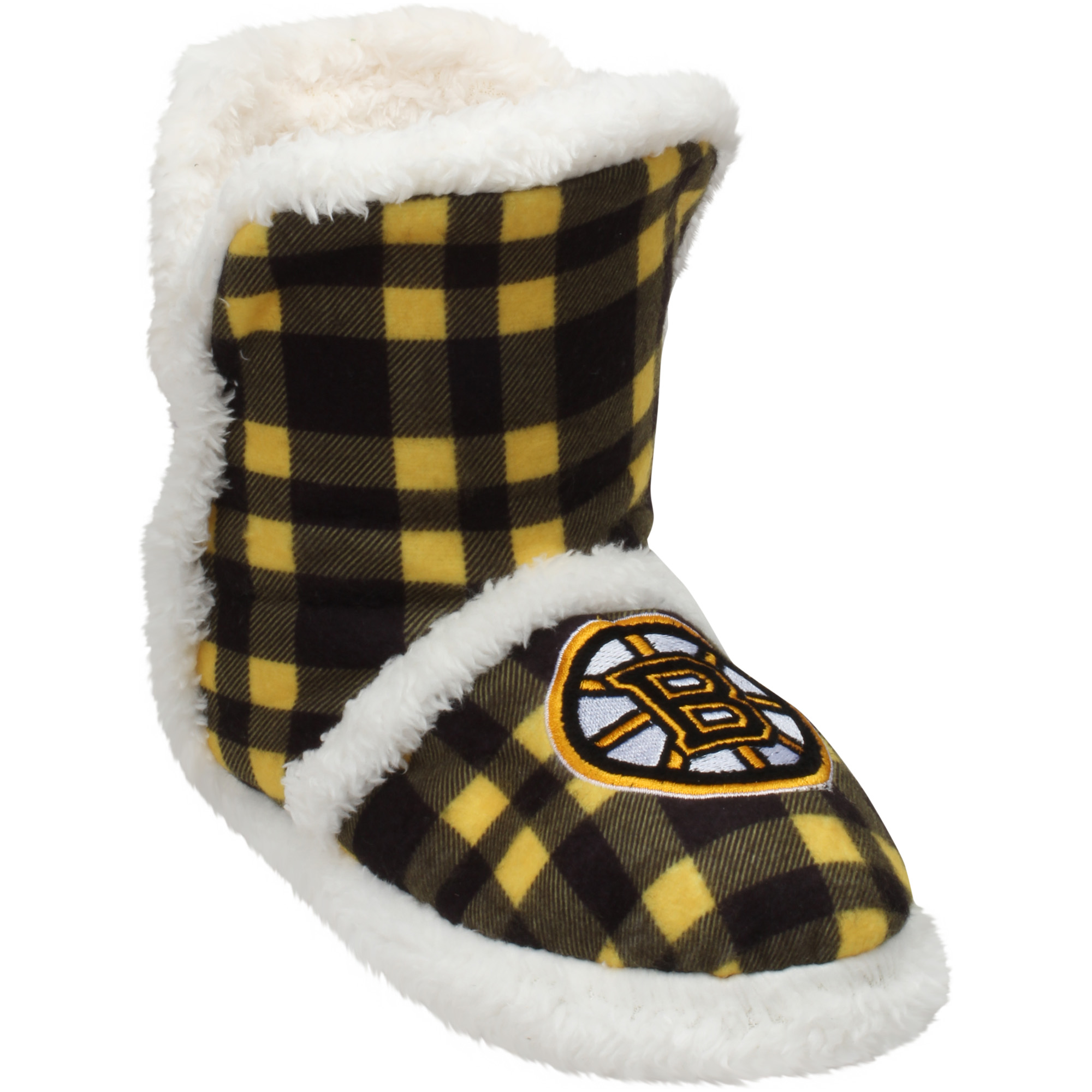 Women's Boston Bruins Flannel Sherpa Boot Slippers by TEAM BEANS INC/FOREVER COLLECTIBLES