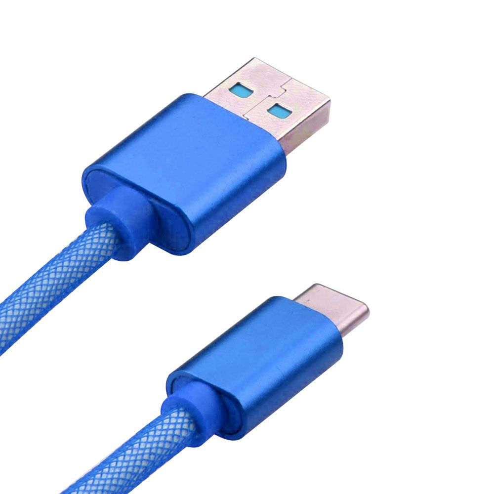 Insten 3ft Durable USB Type-C Steel Mesh Charging Data Cable Flexible Type C Cord - Blue