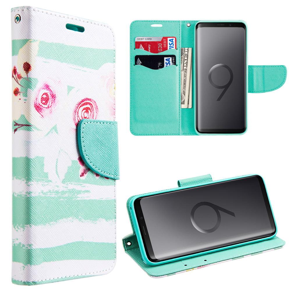MUNDAZE Mint Stripe Flowers Faux Leather Wallet Case For Samsung Galaxy S9 PLUS Phone