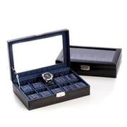 Bey-Berk International BB632BLK Leather 10 Watch Case with Glass Top & Locking Clasp - Black