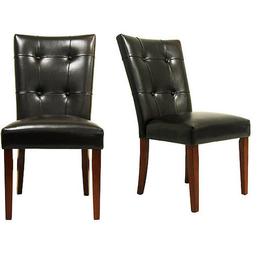 Parson Tufted Vinyl Chairs   Set Of 2