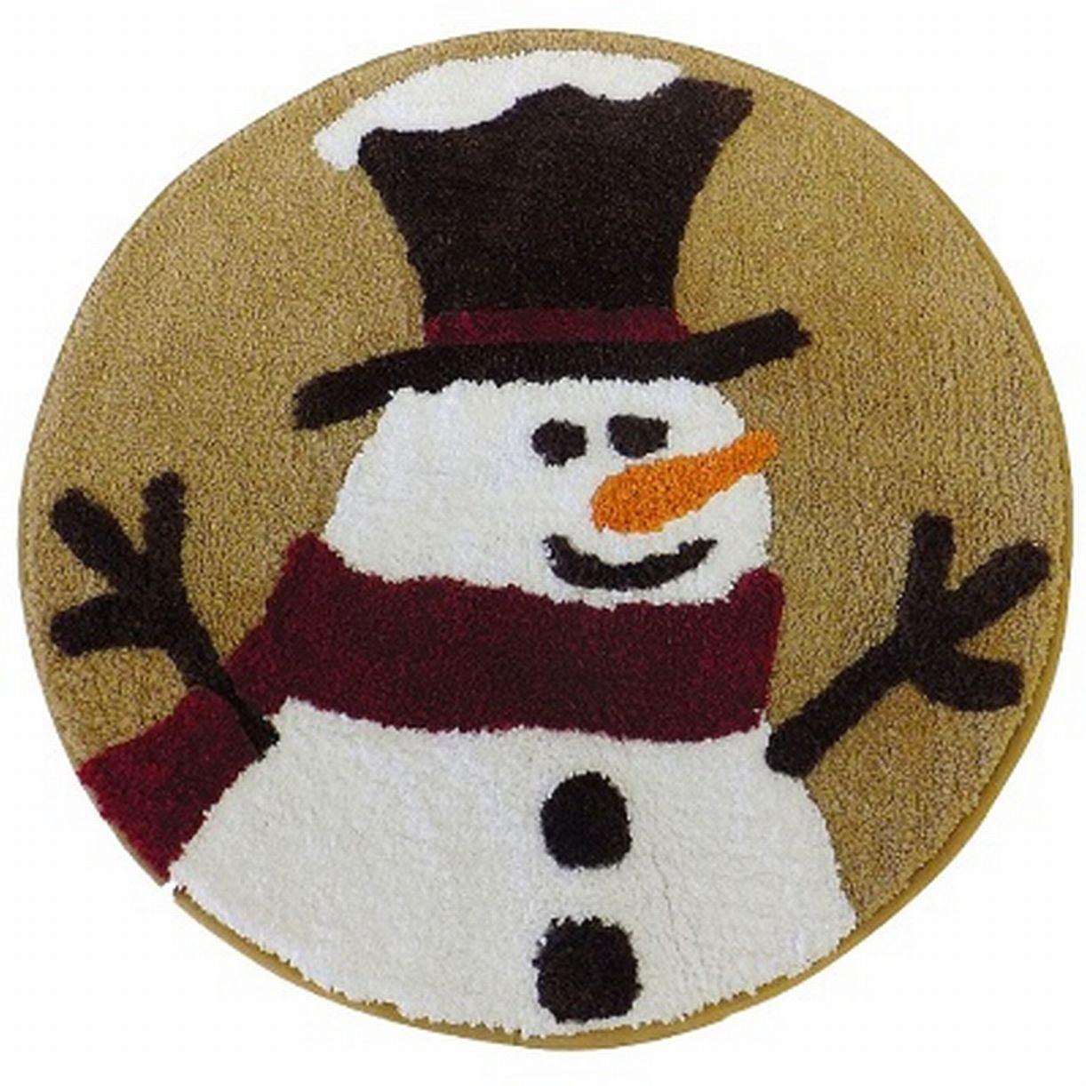 """""""Winter Wonderland Heartland Snowman Bath Throw Rug 25"""""""" Round Skid Resistant Mat"""""""