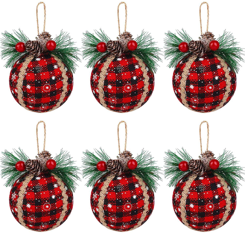 Tingor 6pcs Christmas Plaid Ball Ornaments 3 Inch Black Red Buffalo Plaid Fabric Ball Ornaments With Pine Cones And Greenery Plaid Christmas Tree Hanging Ball Ornaments Festive Decorations Walmart Com