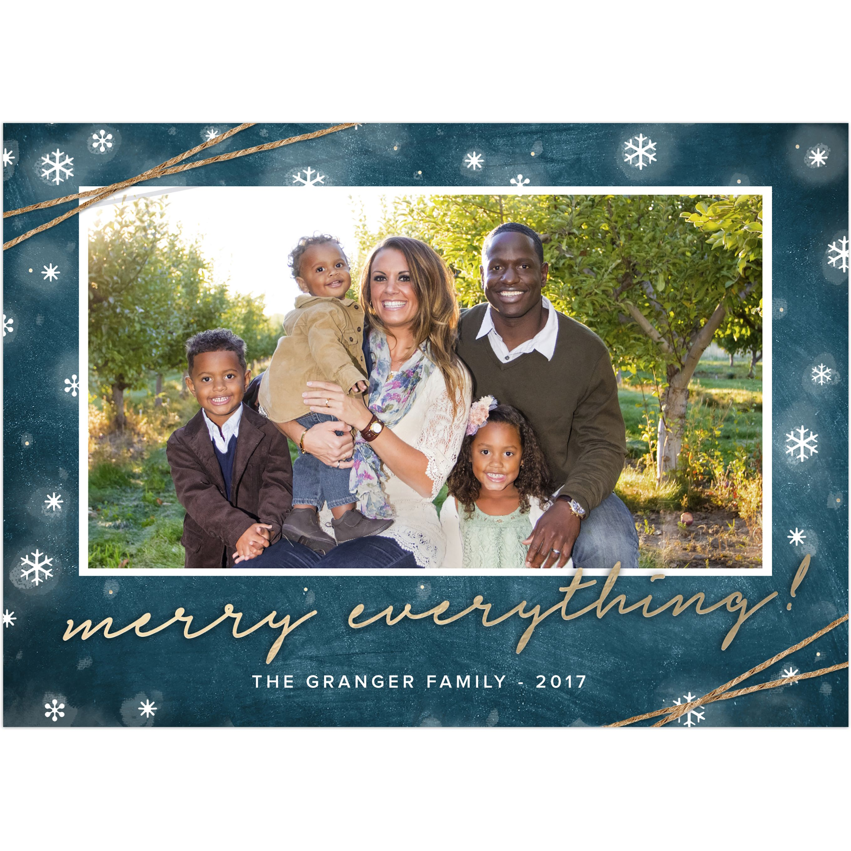 Rustic Merry Everything - 5x7 Personalized Christmas Card