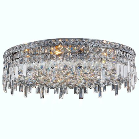 Brilliance Lighting And Chandeliers Glam Art Deco Style 9 Light Faceted Crystal 24 Inch Round Large Flush Mount Extra Ceiling
