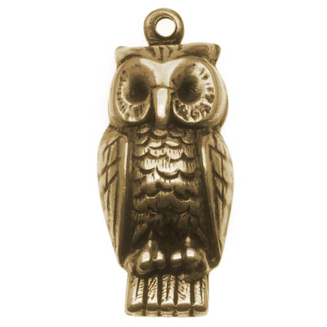 Antiqued Brass Owl Charm Stamping 22.5x9.5mm (4)