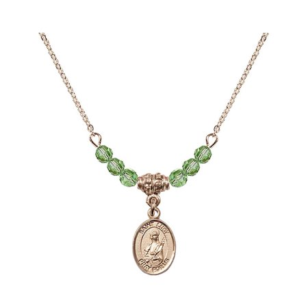 18-Inch Hamilton Gold Plated Necklace with 4mm Green August Birth Month Stone Beads and Saint Lucy Charm ()