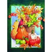 """Autumn Still Life Garden Flag Decorative Fall Pumpkin Leaves Cardinal 12"""" x 18"""""""