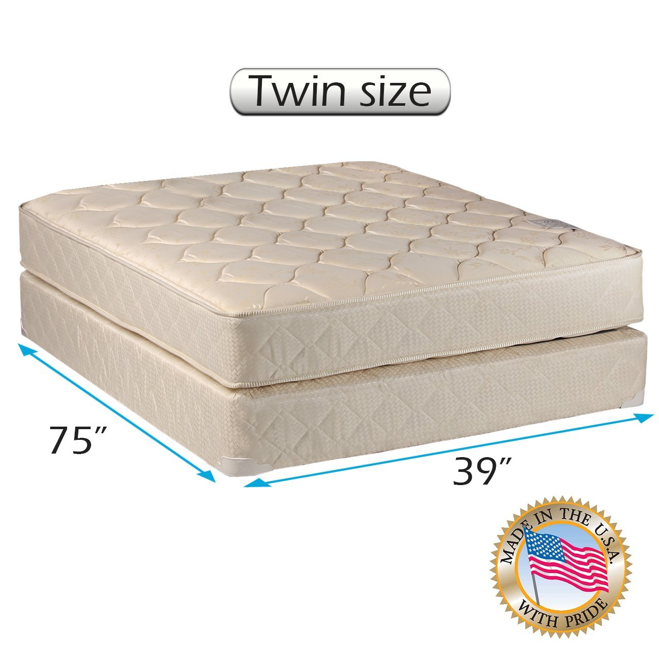 "Comfort Classic Gentle Firm Twin Size (39""x75""x9"")  Mattresses and Box Spring set - Fully assembled, Orthopedic, Good for your back, Longlasting and Super Quality by Dream Solutions USA"