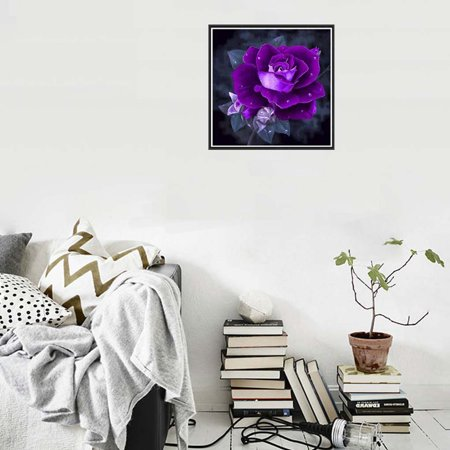 Rhinestone DIY Painting Diamond Purple Rose Cross-stitch School Wall Decor Embroidery Picture Needlework Stitchwork Drawing