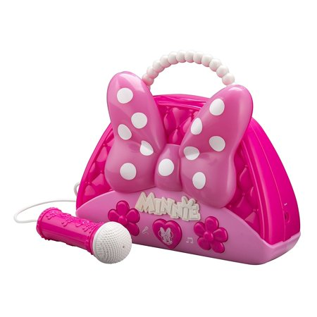 Minnie Mouse Voice Change Boombox With Microphone! Sing Along To Built In Music Or Connect Your Own Device! Minnie Bowtique Voice Change MP3 Boombox for Girls Who Love To Sing! - Children's Boombox