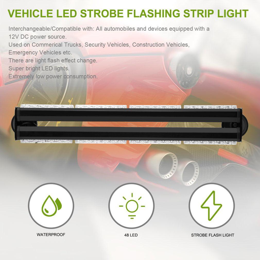 48 LED Ultra Bright Car Warning Lights Yellow Emergency L...