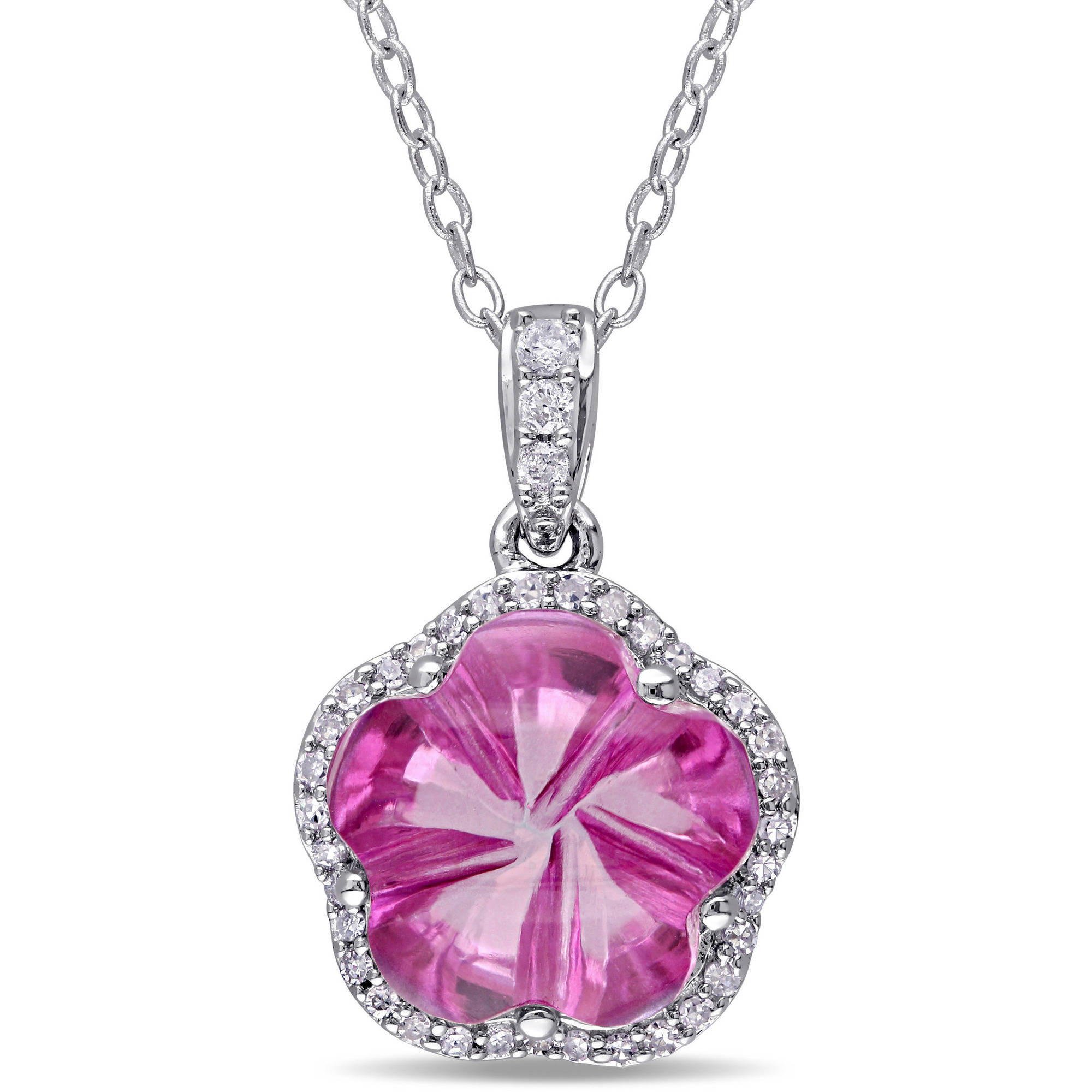 "Tangelo 6-1 4 Carat T.G.W. Pink Topaz and 1 8 Carat T.W. Diamond Sterling Silver Flower Pendant, 18"" by Tangelo"