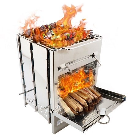 AIHOME Stainless Steel Square Stove Foldable Grill Adjustable Outdoor Mini Charcoal Stove BBQ Grill - image 9 de 9