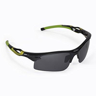Walleva Polarized Sports Sunglasses For Fishing/Biking/Hiking/Golf/Ski - Multiple Options Available (Black - (Sports Sun Glasses)