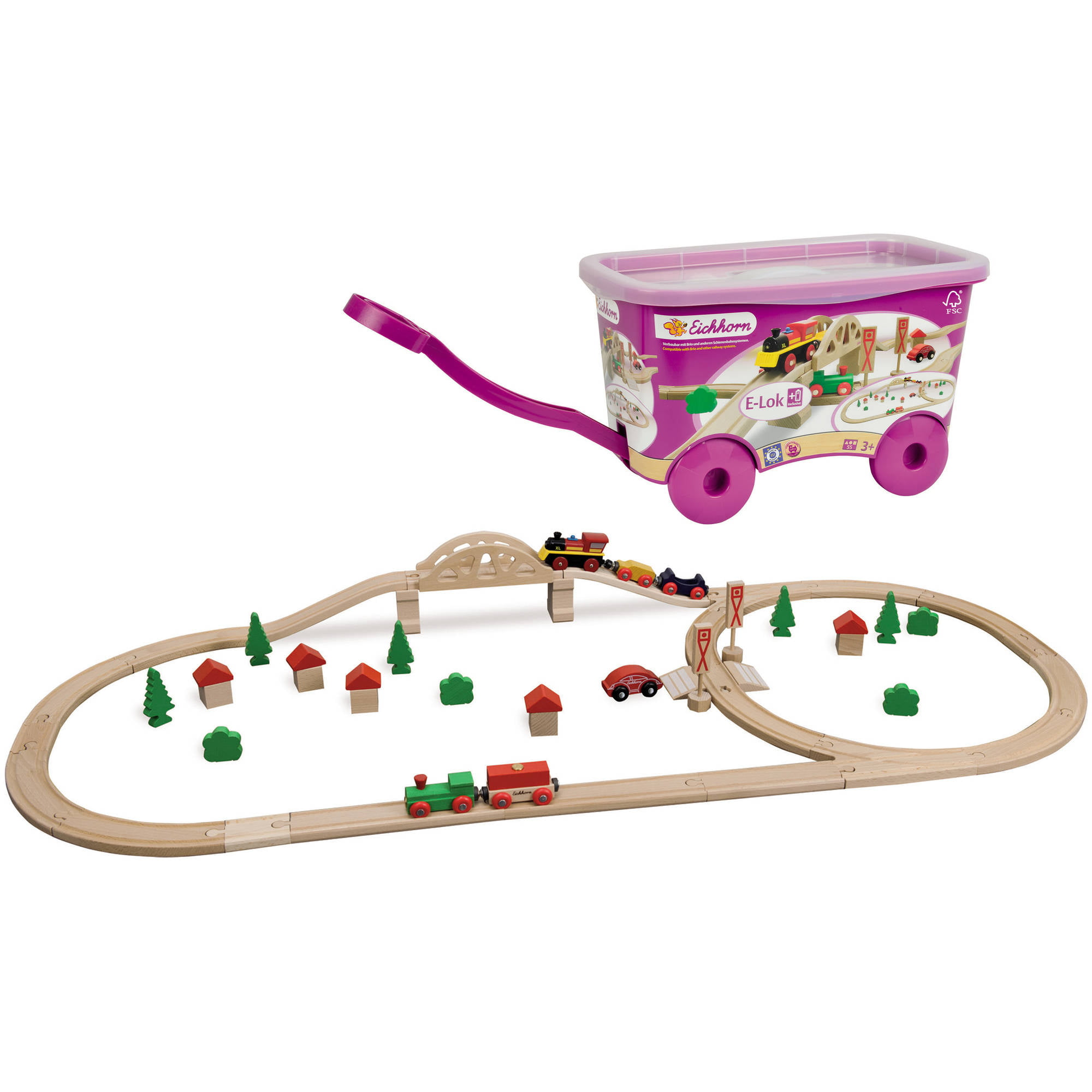 Eichhorn 55-Piece Wooden Train Set with Bridge and Storable Wagon - Walmart.com