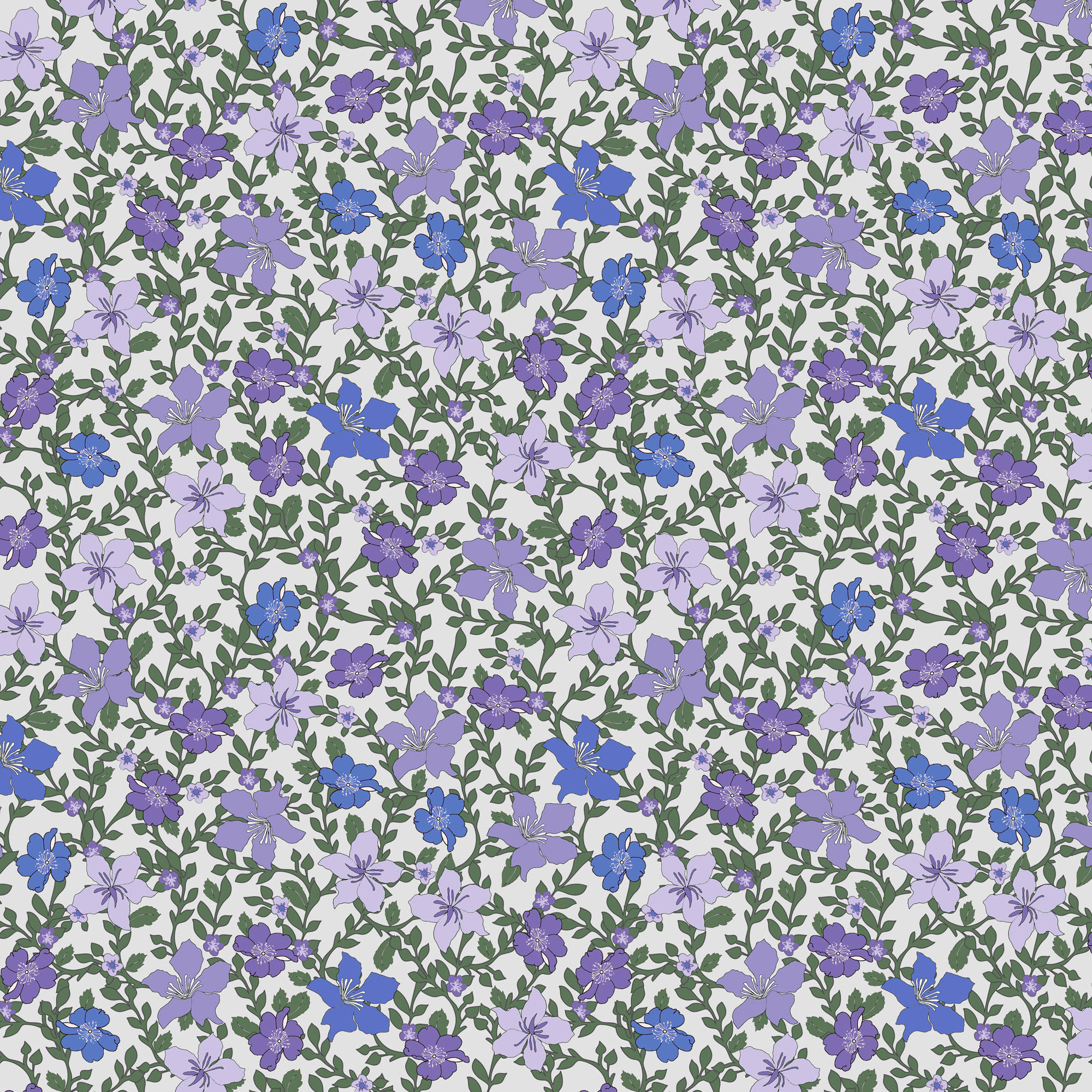 Rose And Hubble Ivy's Flowers Purple Quilting Cotton Fabric By The Yard, 44""