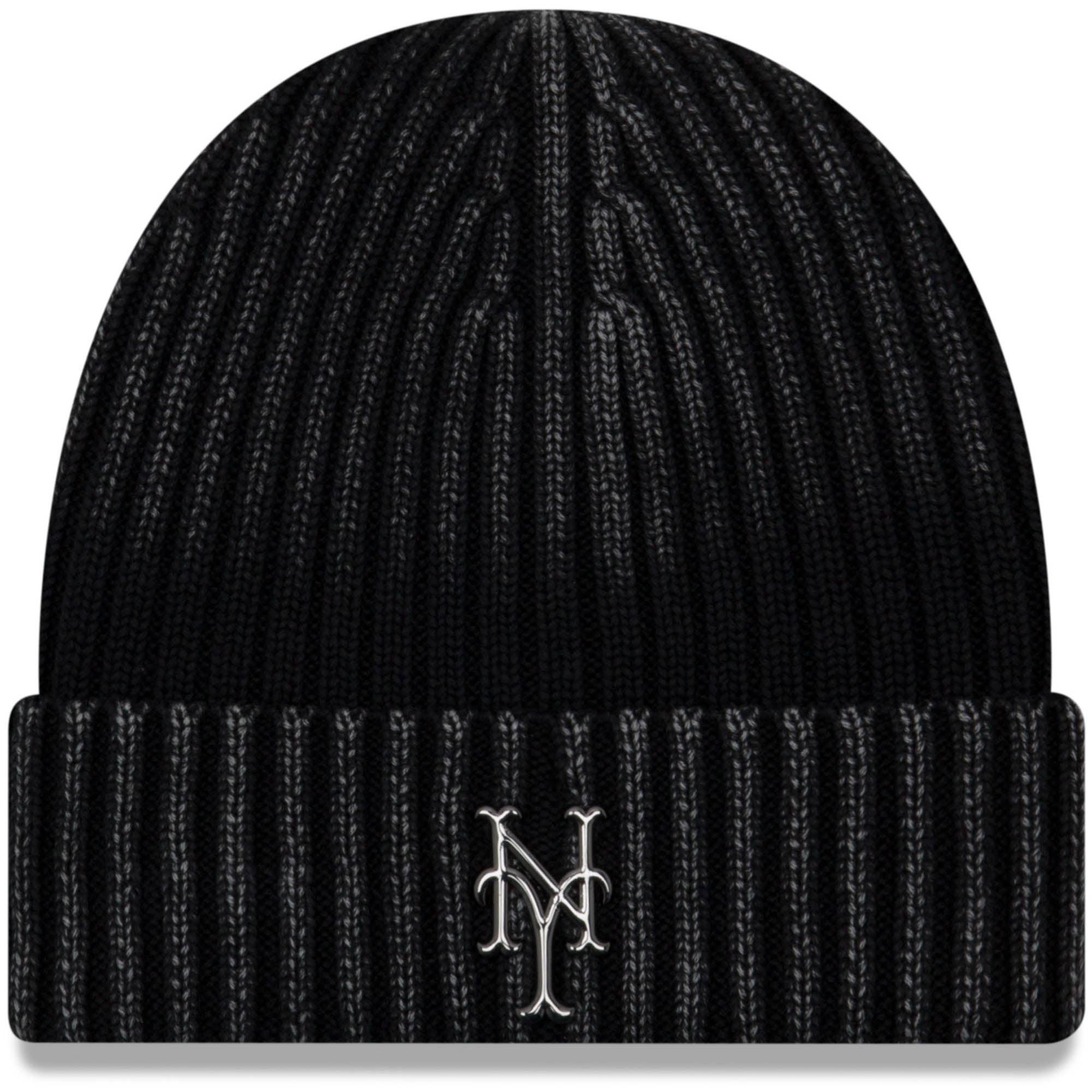 New York Mets New Era Winter Wind Cuffed Knit Hat Black OSFA by NEW ERA CAP COMPANY