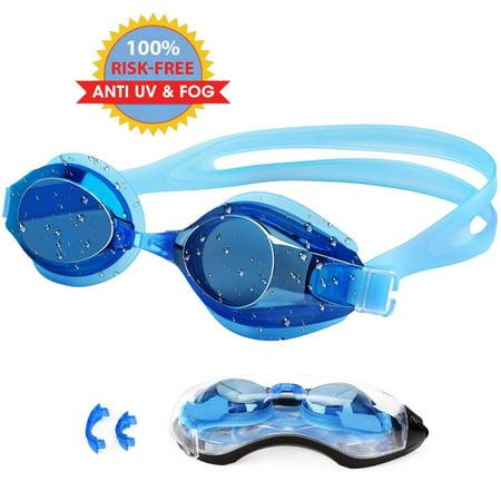 Swimming Goggles, Professional Swim Goggles Anti Fog UV Protection No Leaking for Adults Men Women Kids Swim Goggles with Protection Case and Interchangeable Nose Bridge - Swim Goggles For Kids