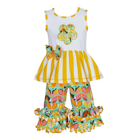AnnLoren Girls Spring Yellow Flower Tunic & Butterfly Capris Clothing