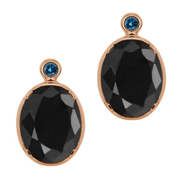 5.10 Ct Oval Black Sapphire Blue Diamond 14K Rose Gold Earrings