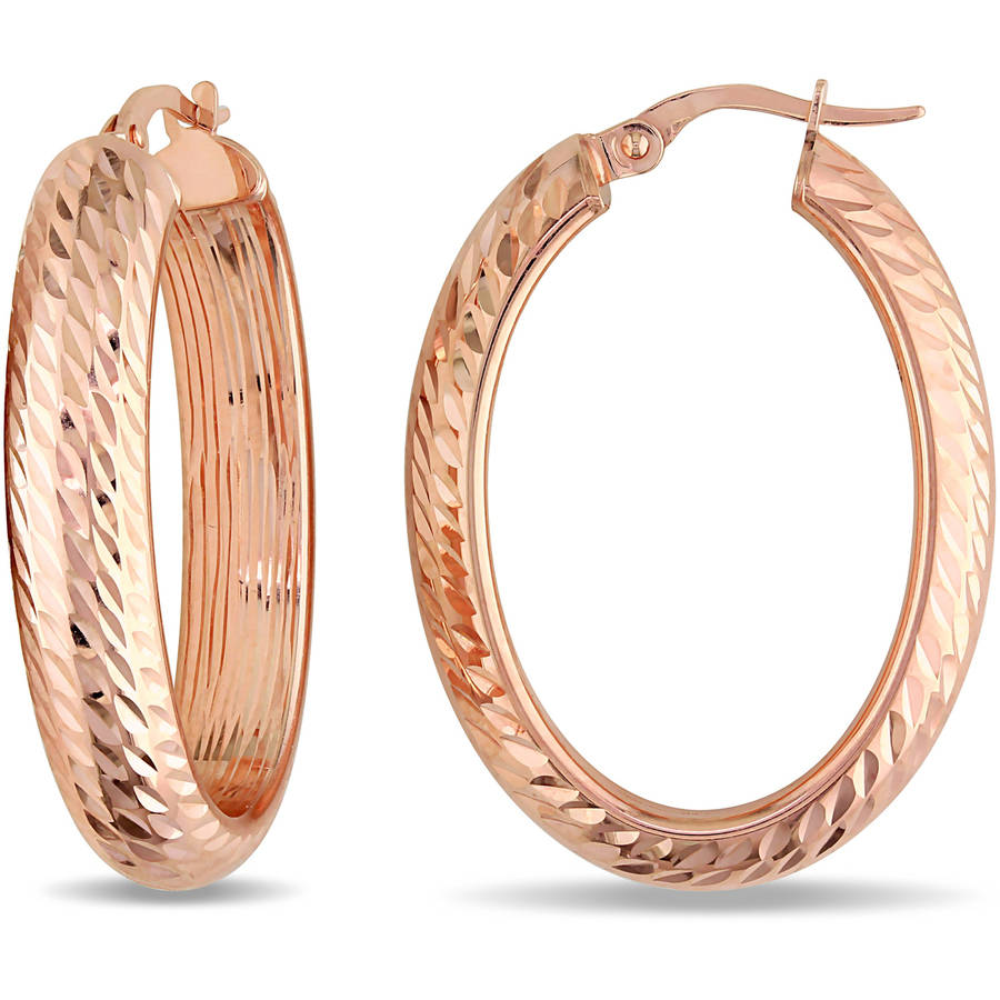 10kt Rose Gold Textured Hoop Earrings