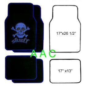 A set of 4 universal fit plush carpet floor mats for cars   truck Skull and Cross Bone Blue by LavoHome