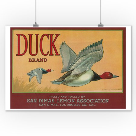 Duck Lemon - Vintage Crate Label (9x12 Art Print, Wall Decor Travel - Duck Decor