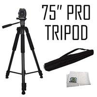 """75"""" Professional Heavy Duty 3-Way Pan Head Tripod For Panasonic AG-HPX170, AG-HMC70, AG-HMC40, AG-HPX500, Pro AG-HMC150 HD Camcorders"""