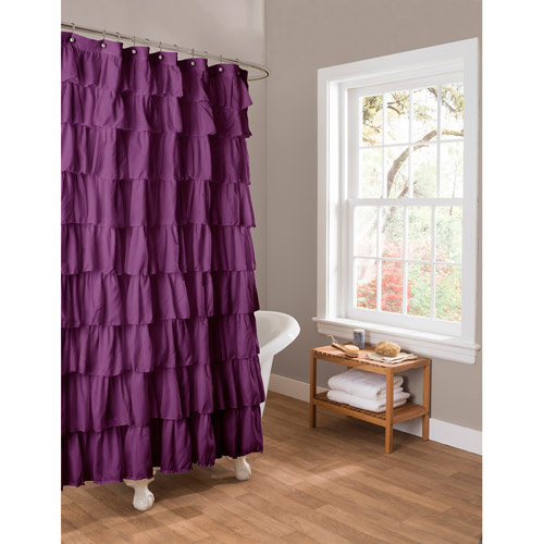 Essential Living Ruffle Purple Shower Curtain