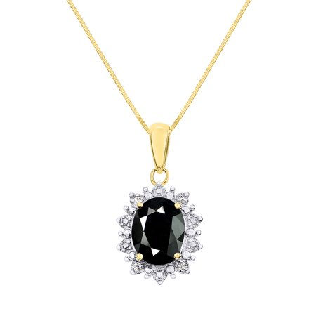 Princess Diana Inspired Halo Diamond & Onyx Pendant Necklace Set In 14K Yellow Gold with 18