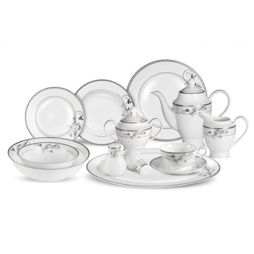 Lorren Home Trend s 57-piece Viola Bone China Dinnerware Set (Service for 8) by Overstock