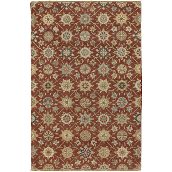 8' x 10' Sumerian Breeze Brick Red and Taupe Wool Area Throw Rug
