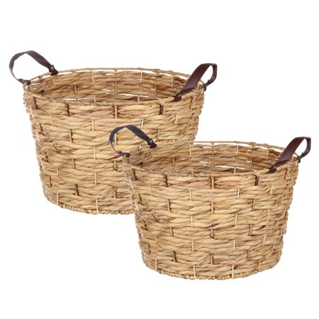 Better Homes & Gardens Natural Round Large Leather Handle Basket, Set of 2 ()