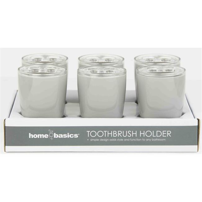 Home Basics TH41342 Home Basics Plastic Toothbrush Holder - Grey, 6 Pieces