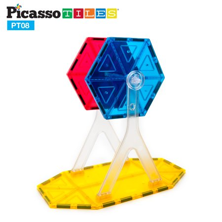 PicassoTiles Ferris Wheel Accessory Kit 8pc Magnetic Toy Building Block Magnet Set Children Construction Tiles STEM Interlocking Playboard Learning Stacking Blocks Child Brain Development PT08