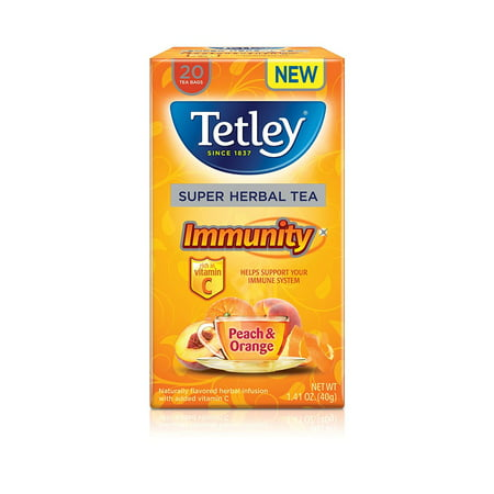 (Tetley, Super Herbal Tea, Peach & Orange with Vitamin C, Tea Bags, 20 Count)
