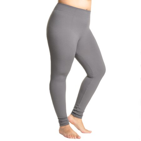 Plush Legging - Polyester Winter Warmth Seamless Plush Lined Footless Leggings