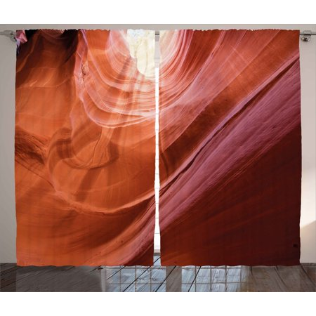 Usa Curtains 2 Panels Set, Nature Theme Inside of the Antelope Canyon in Arizona Digital Art Image, Window Drapes for Living Room Bedroom, 108W X 63L Inches, Orange Red and Yellow, by Ambesonne