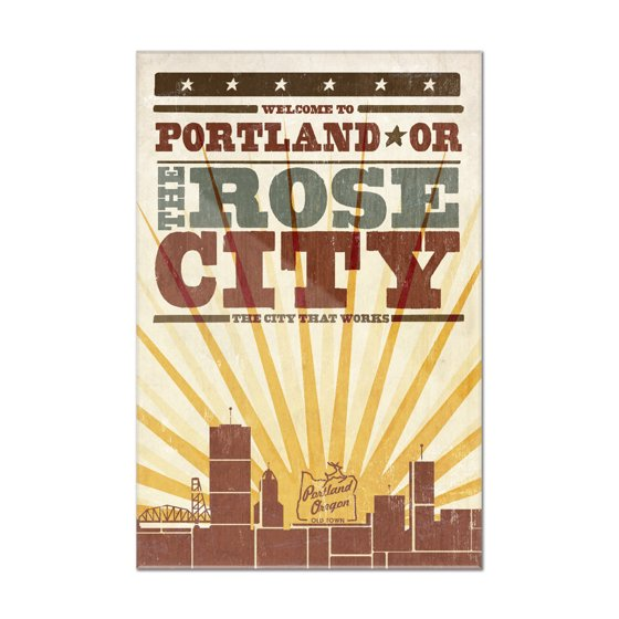 Portland, Oregon - Skyline & Sunburst Screenprint Style - Lantern ...
