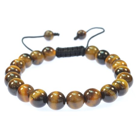 Citrine Tigers Eye Bracelet - Round Beautiful Tiger Eye stone bracelet for men and women - good for protection - 91034