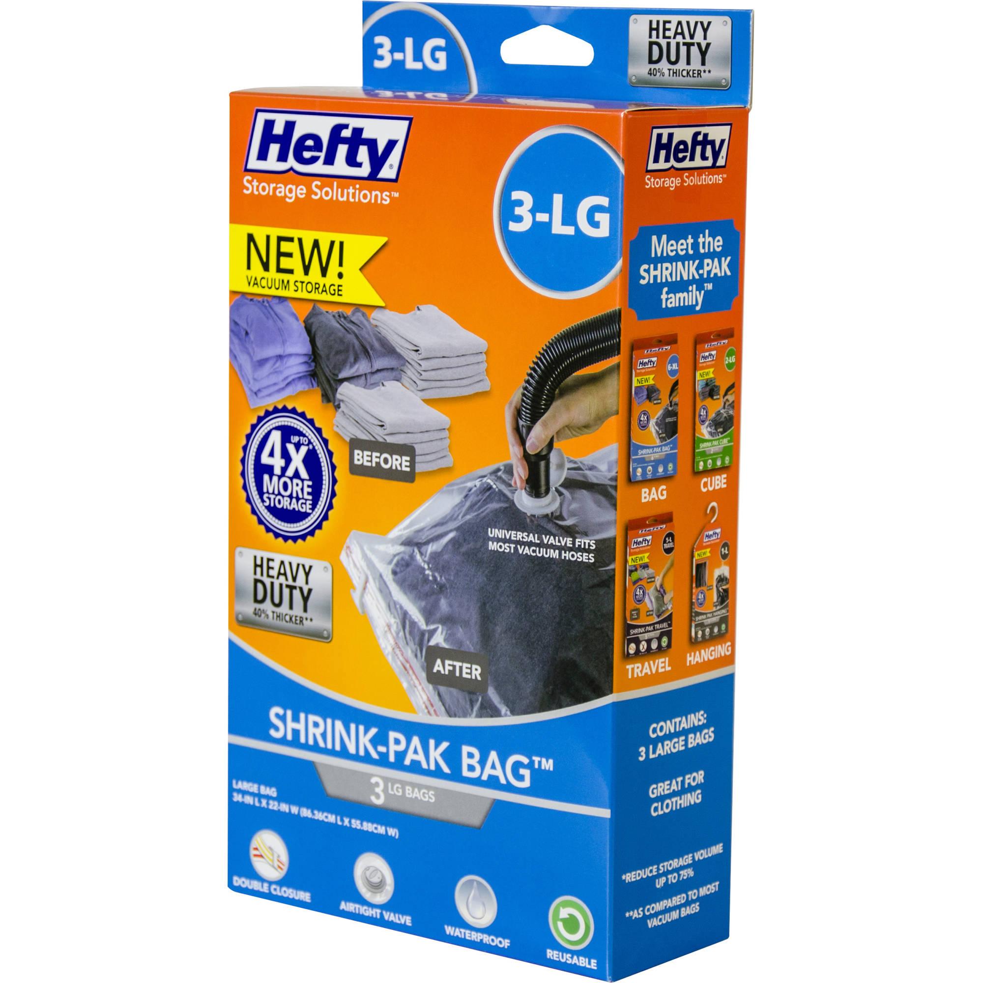 Hefty Shrink-Pak Vacuum Seal Bags, 3 Large Heavy-Duty Bags
