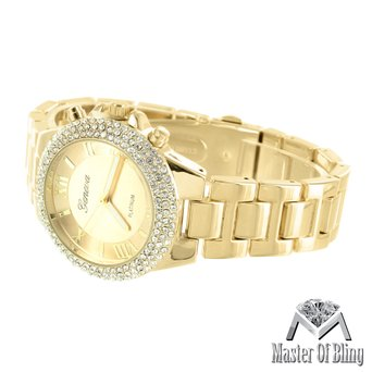 Womens Gold Tone Watch Platinum Stainless Steel Back Lab Created Cubic Zirconias Geneva Female