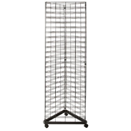 Black Triangle Slat Grid Tower with Base & Casters