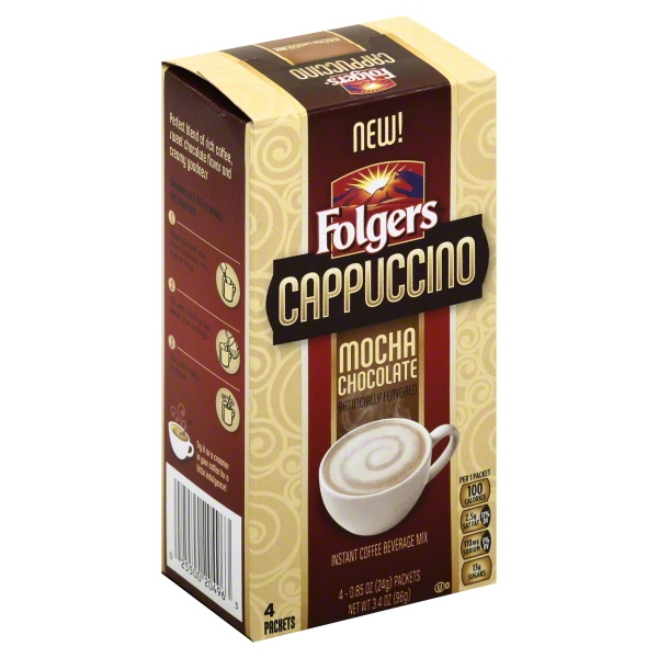 Folgers Cappuccino Mocha Chocolate Instant Coffee Beverage Mix, .85 oz, 4 count